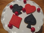Decorated Heart, Spade, Diamond & Club Cookies