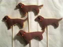 Decorated Dachshund Dog Cookies