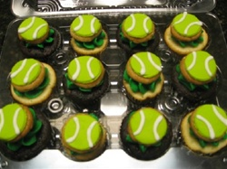 Decorated tennis cupcakes
