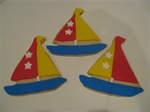 "Our decorated Sailboat Cookie Favors are perfect for a Sailing Enthusist or for a beach themed party.  These can be custom colored and are packaged in clear study cello bags with a coordinating ribbon tie.  The size of the cookies are approximately 5"" x 4"