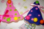 Decorated Birthday Party Hat Cookies