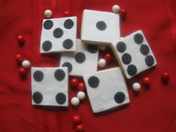 Pair of decorated Dice Cookies