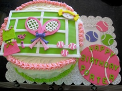 Our Tennis Decorative Cakes are four layers of the most moist Cake of your choice and filled with your desired Home Made frosting.  We bake the cake with fresh whole gourmet ingredients and to order.    We have Home Made Chocolate Butter